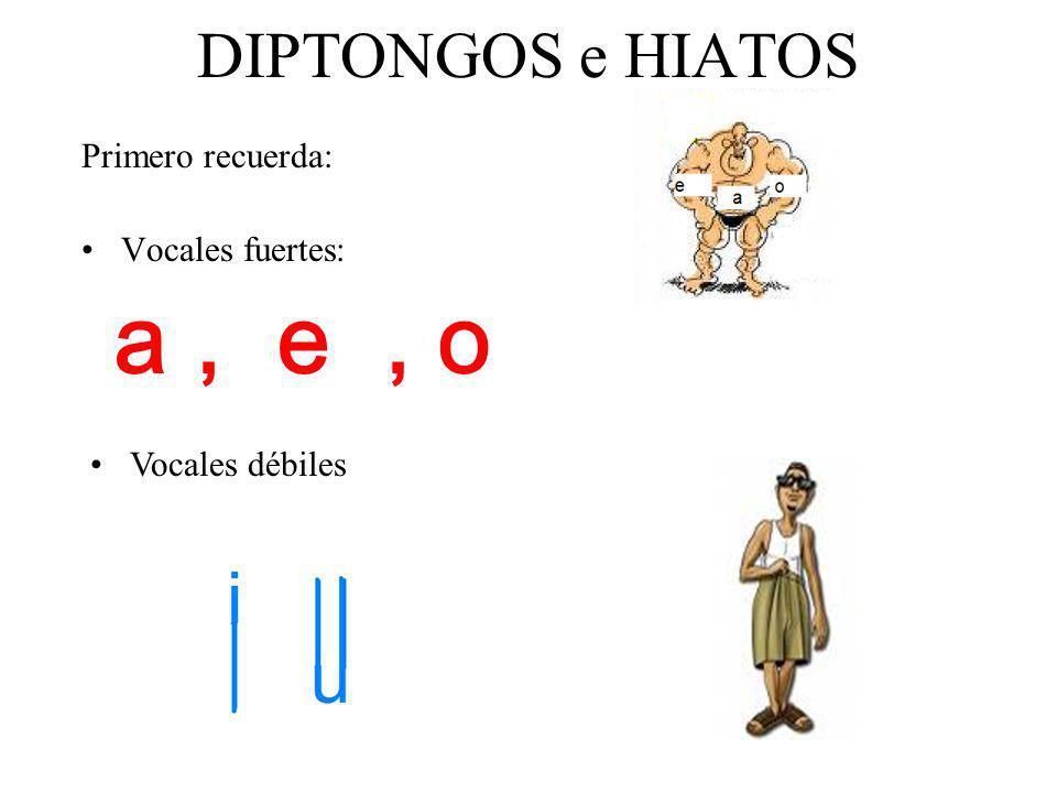DIPTONGOS e HIATOS Primero recuerda: Vocales fuertes: a, e, o Vocales débiles