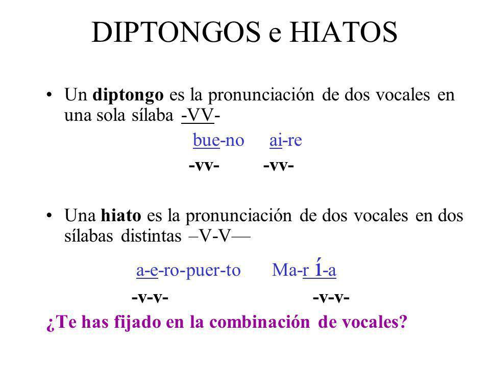 DIPTONGOS e HIATOS Un diptongo es la pronunciación de dos vocales en una sola sílaba -VV- bue-no ai-re -vv- -vv- Una hiato es la pronunciación de dos vocales en dos sílabas distintas –V-V a-e-ro-puer-to Ma-r í -a -v-v- -v-v- ¿Te has fijado en la combinación de vocales?