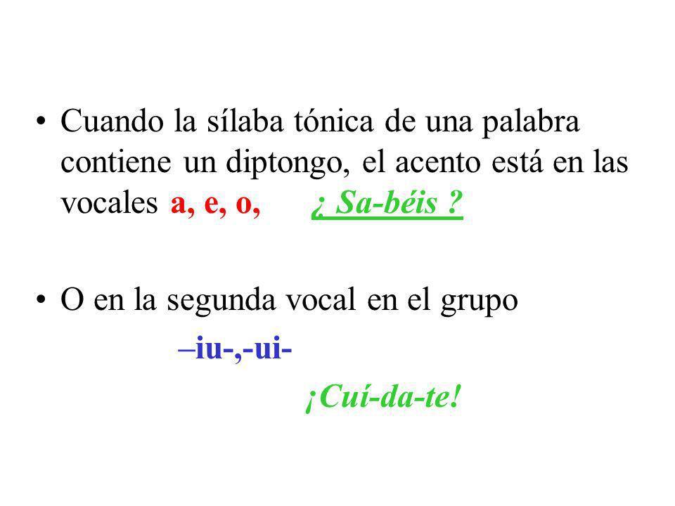 Cuando la sílaba tónica de una palabra contiene un diptongo, el acento está en las vocales a, e, o, ¿ Sa-béis .