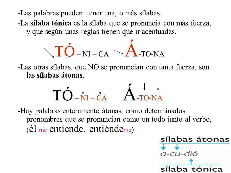 -Las palabras pueden tener una, o más sílabas.