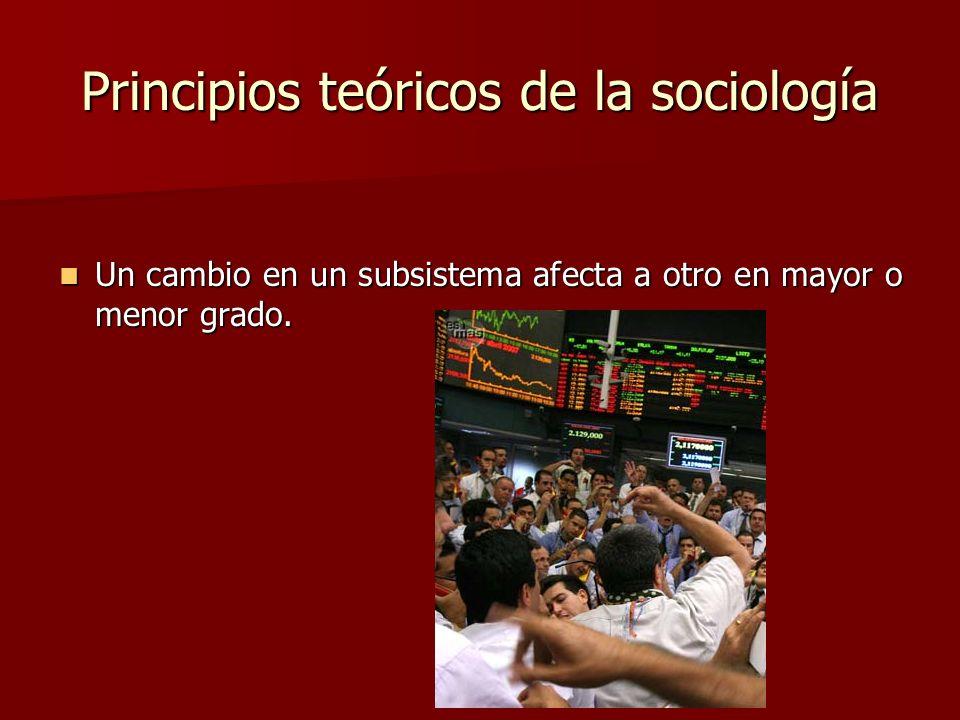Principios teóricos de la sociología Un cambio en un subsistema afecta a otro en mayor o menor grado. Un cambio en un subsistema afecta a otro en mayo