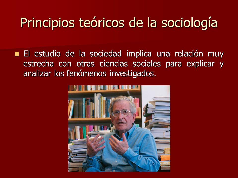 Principios teóricos de la sociología El estudio de la sociedad implica una relación muy estrecha con otras ciencias sociales para explicar y analizar