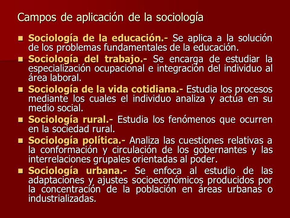 Campos de aplicación de la sociología Sociología de la educación.- Se aplica a la solución de los problemas fundamentales de la educación. Sociología