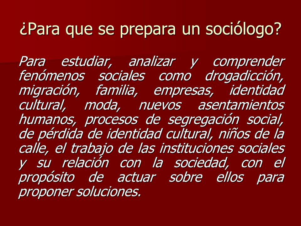 ¿Para que se prepara un sociólogo? Para estudiar, analizar y comprender fenómenos sociales como drogadicción, migración, familia, empresas, identidad