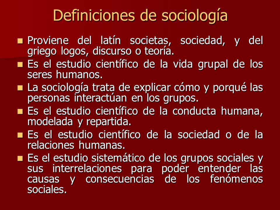 Definiciones de sociología Proviene del latín societas, sociedad, y del griego logos, discurso o teoría. Proviene del latín societas, sociedad, y del