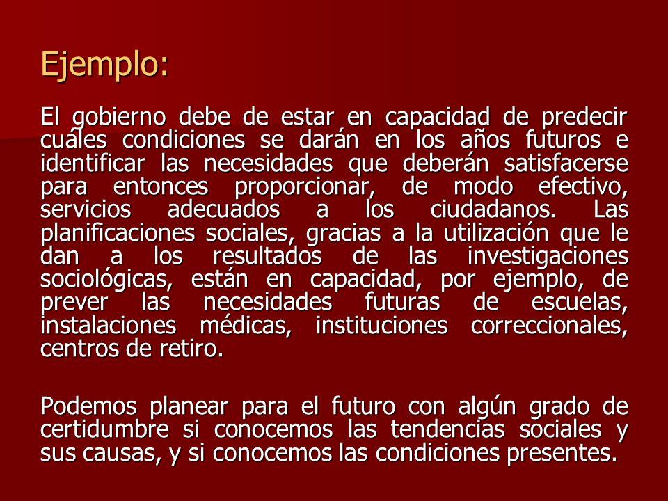 Ejemplo: El gobierno debe de estar en capacidad de predecir cuáles condiciones se darán en los años futuros e identificar las necesidades que deberán