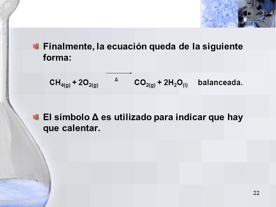 21 La ecuación anterior se puede describir de la siguiente forma: –Una molécula de metano más dos moléculas de oxígeno reaccionan para producir una mo