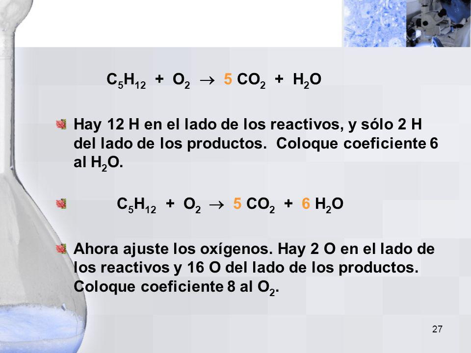 26 Ejemplo No. 5 Escriba una ecuación balanceada para la reacción de combustión del pentano (C 5 H 12 ). Paso 1: Escriba la ecuación no balanceada: C
