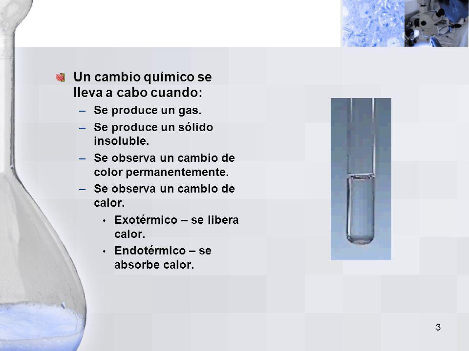 3 Un cambio químico se lleva a cabo cuando: –Se produce un gas.