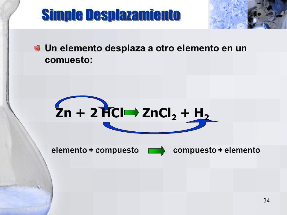 33 compuesto elemento + elemento 2H 2 O 2H 2 + O 2 Un compuesto se descompone en partes: Descomposición
