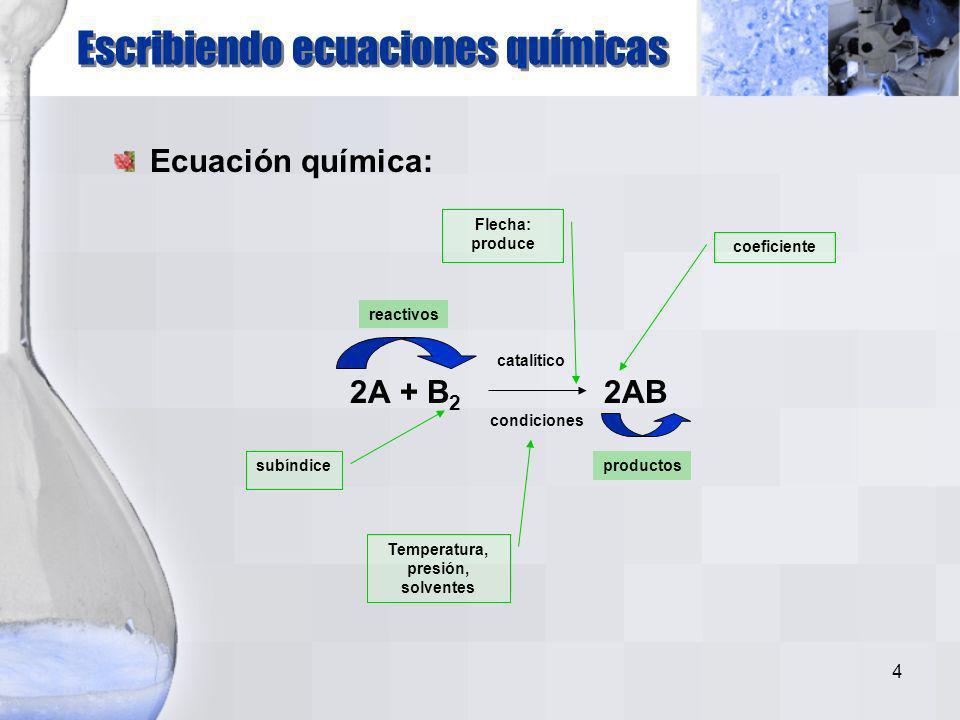 4 Ecuación química: 2A + B 2 2AB Flecha: produce Escribiendo ecuaciones químicas catalítico condiciones subíndice coeficiente Temperatura, presión, solventes productos reactivos