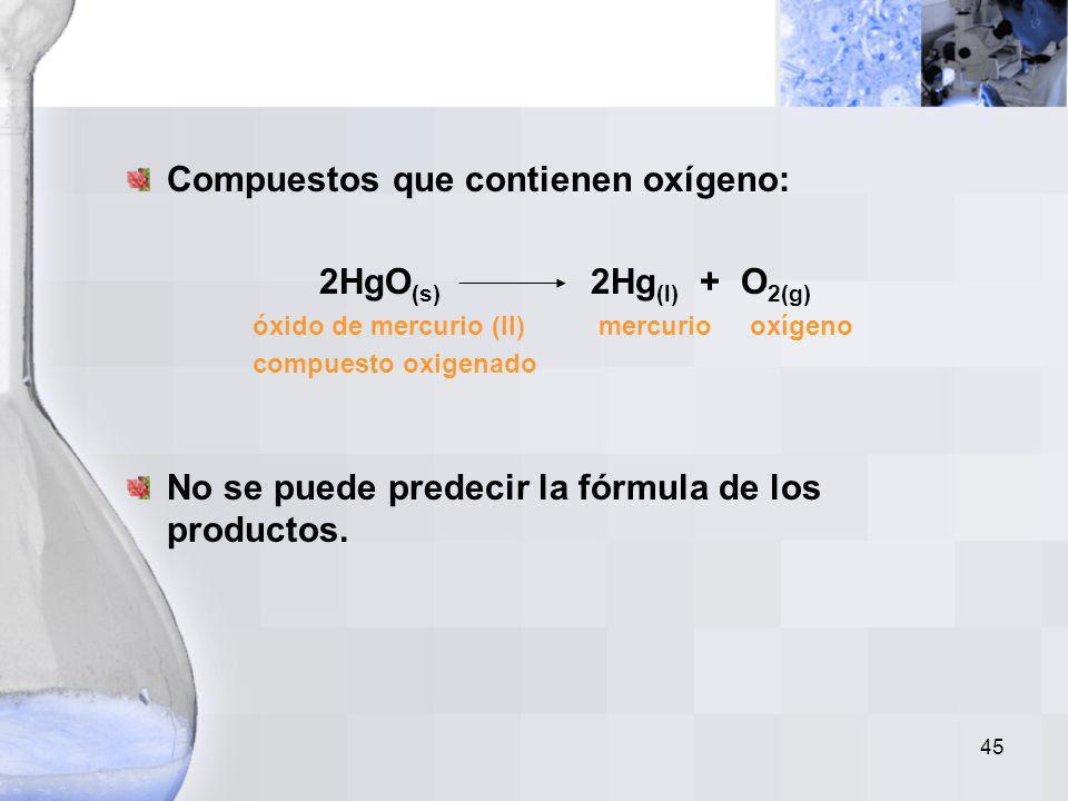 44 Carbonatos de Metal: CaCO 3(s) CaO (s) + CO 2(g) carbonato óxido dióxido de de metal de metal carbono El carbonato hidrogenado de metal se descompo