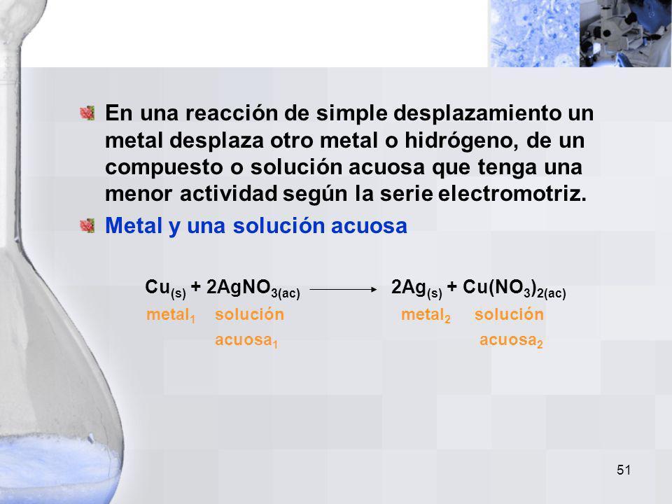50 Serie de actividad para no-metales: Esta serie de actividad explica lo siguiente: Cl 2(g) + 2NaBr (ac) 2NaCl (ac) + Br 2(l) Cl 2(g) + NaF (ac) NR M