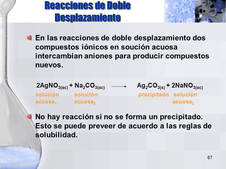 66 El sulfato de potasio se disocia en agua en cationes potasio y aniones sulfato. K 2 SO 4 (ac) 2 K + (ac) + SO 4 2- (ac) K+K+ SO 4 2- K+K+ KK SO 4