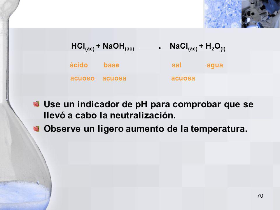 69 Una reacción de neutralización es un caso especial de reacción de doble desplazamiento. En una reacción de neutralilzación, un ácido y una base rea