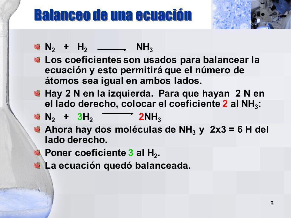 8 N 2 + H 2 NH 3 Los coeficientes son usados para balancear la ecuación y esto permitirá que el número de átomos sea igual en ambos lados.