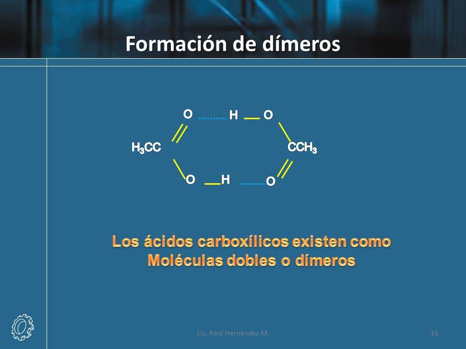 Formación de dímeros Lic. Raúl Hernández M.16