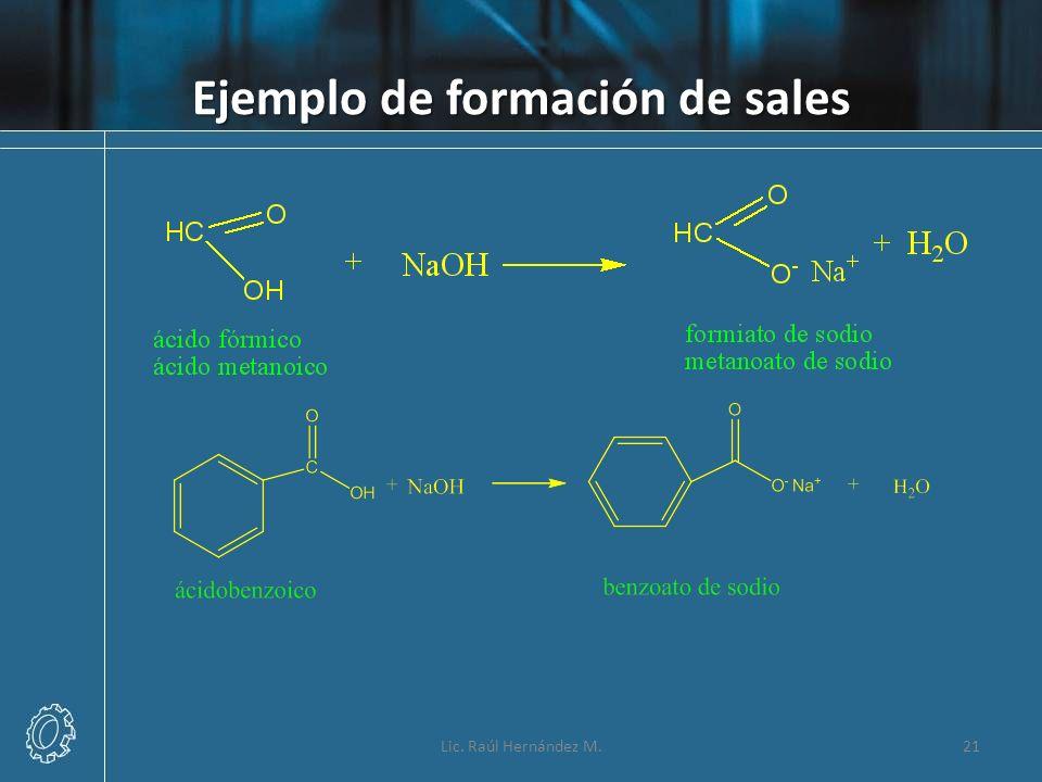 Ejemplo de formación de sales Lic. Raúl Hernández M.21