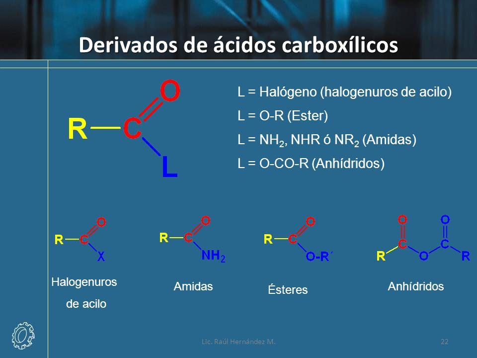 Derivados de ácidos carboxílicos Lic. Raúl Hernández M.22 L = Halógeno (halogenuros de acilo) L = O-R (Ester) L = NH 2, NHR ó NR 2 (Amidas) L = O-CO-R