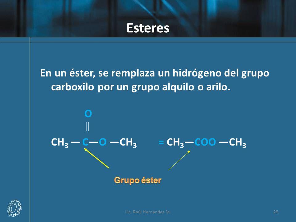 Esteres Lic. Raúl Hernández M.25 En un éster, se remplaza un hidrógeno del grupo carboxilo por un grupo alquilo o arilo. O CH 3 CO CH 3 = CH 3COO CH 3