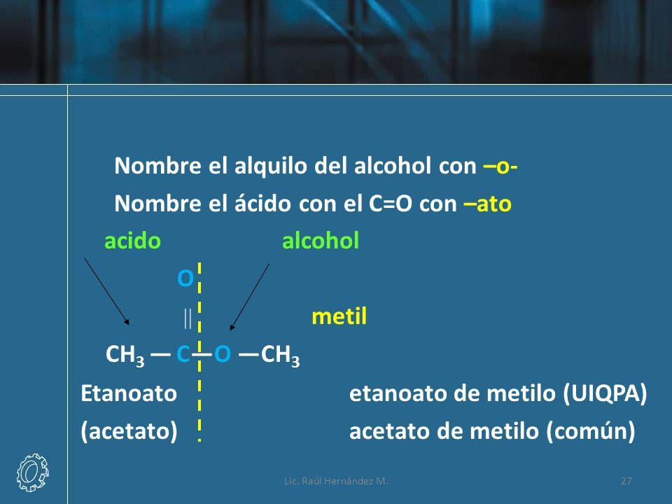 Lic. Raúl Hernández M.27 Nombre el alquilo del alcohol con –o- Nombre el ácido con el C=O con –ato acidoalcohol O metil CH 3 CO CH 3 Etanoato etanoato