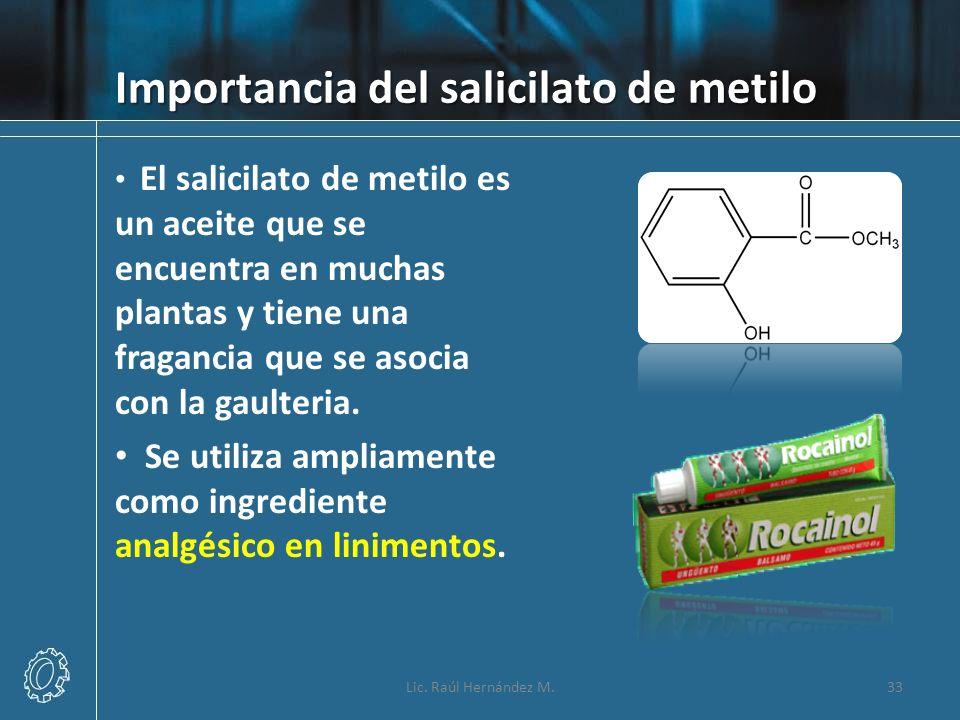 Importancia del salicilato de metilo El salicilato de metilo es un aceite que se encuentra en muchas plantas y tiene una fragancia que se asocia con l