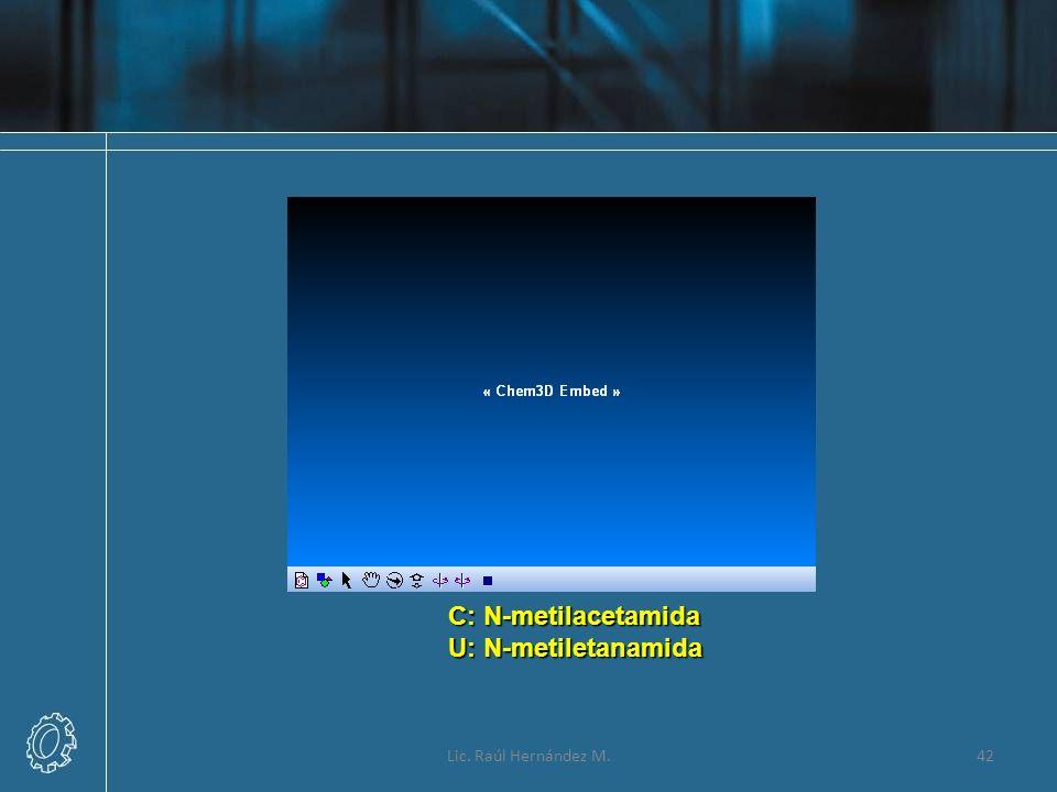 Lic. Raúl Hernández M.42 C: N-metilacetamida U: N-metiletanamida
