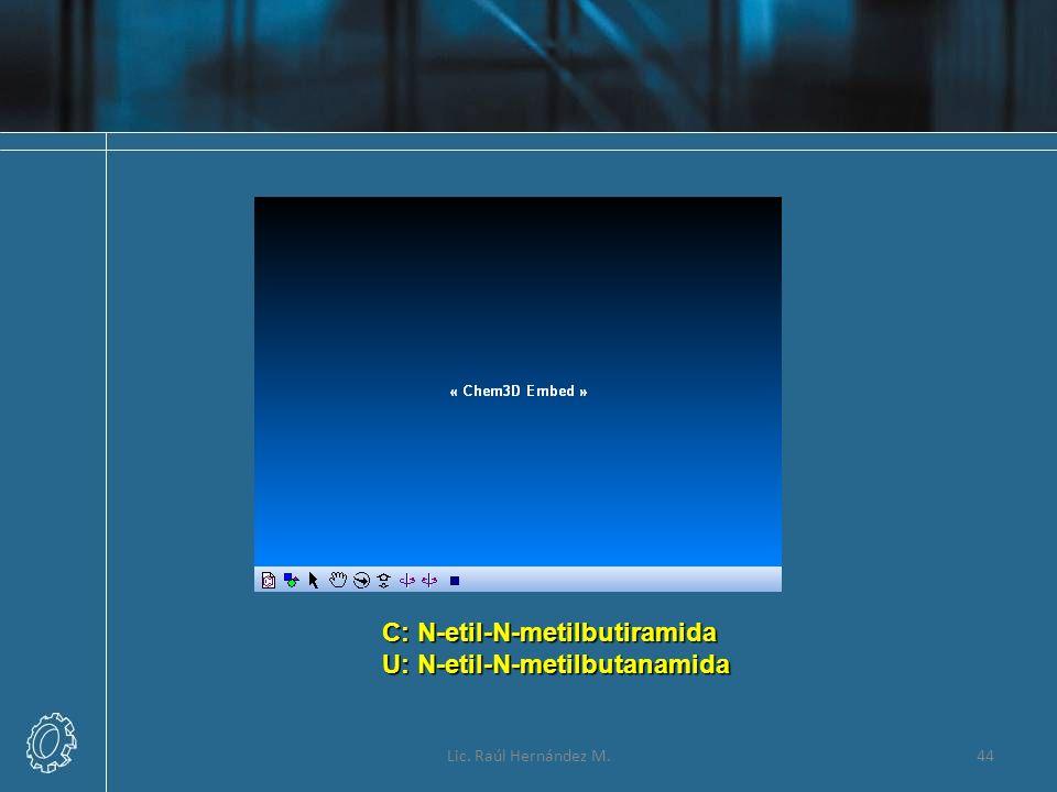 Lic. Raúl Hernández M.44 C: N-etil-N-metilbutiramida U: N-etil-N-metilbutanamida