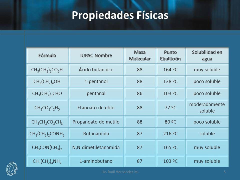Propiedades Físicas 5Lic. Raúl Hernández M.