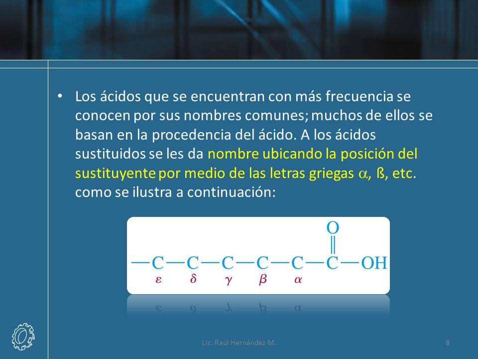 Los ácidos que se encuentran con más frecuencia se conocen por sus nombres comunes; muchos de ellos se basan en la procedencia del ácido. A los ácidos