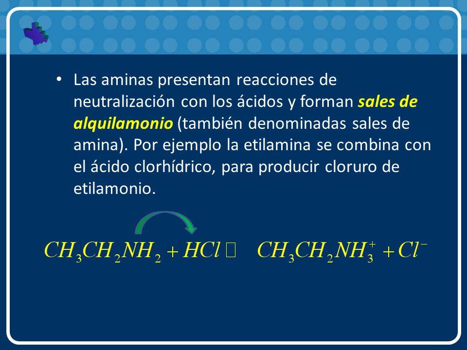 Las aminas presentan reacciones de neutralización con los ácidos y forman sales de alquilamonio (también denominadas sales de amina). Por ejemplo la e