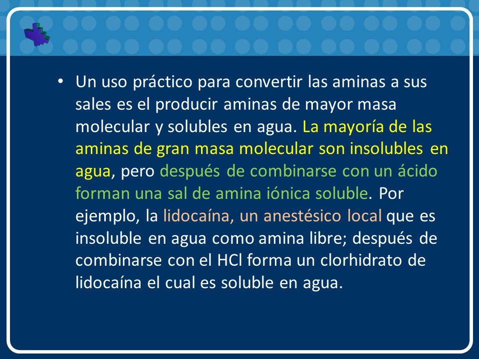 Un uso práctico para convertir las aminas a sus sales es el producir aminas de mayor masa molecular y solubles en agua. La mayoría de las aminas de gr