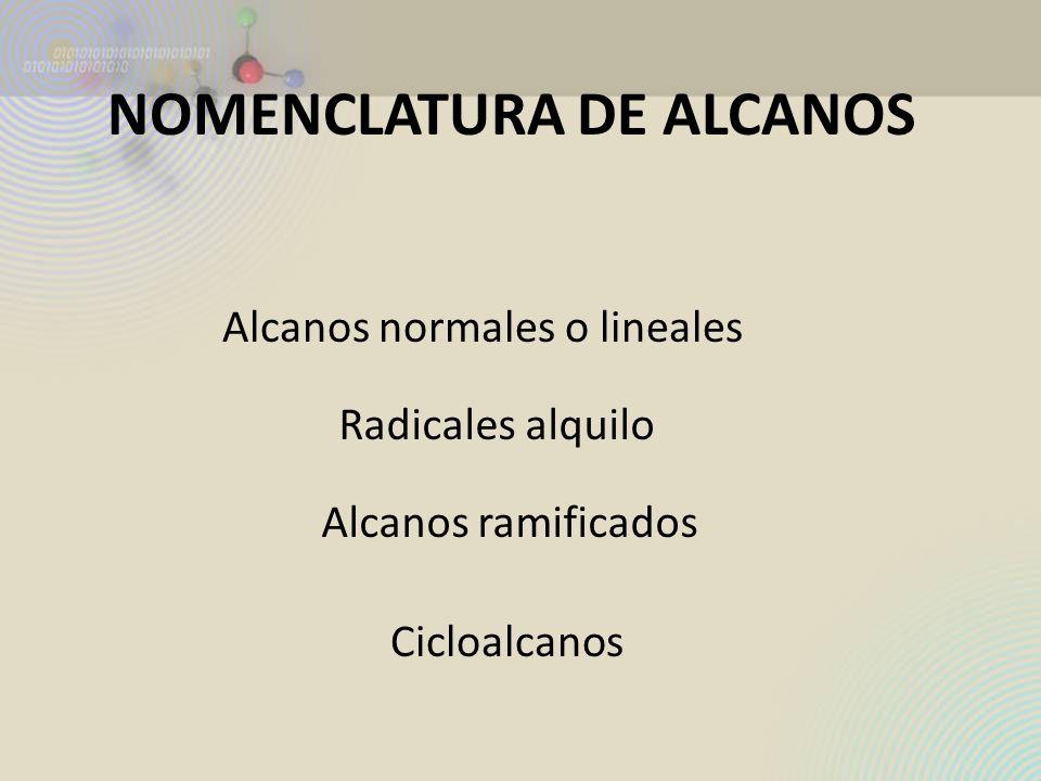 NOMENCLATURA DE ALCANOS Alcanos normales o lineales Radicales alquilo Alcanos ramificados Cicloalcanos