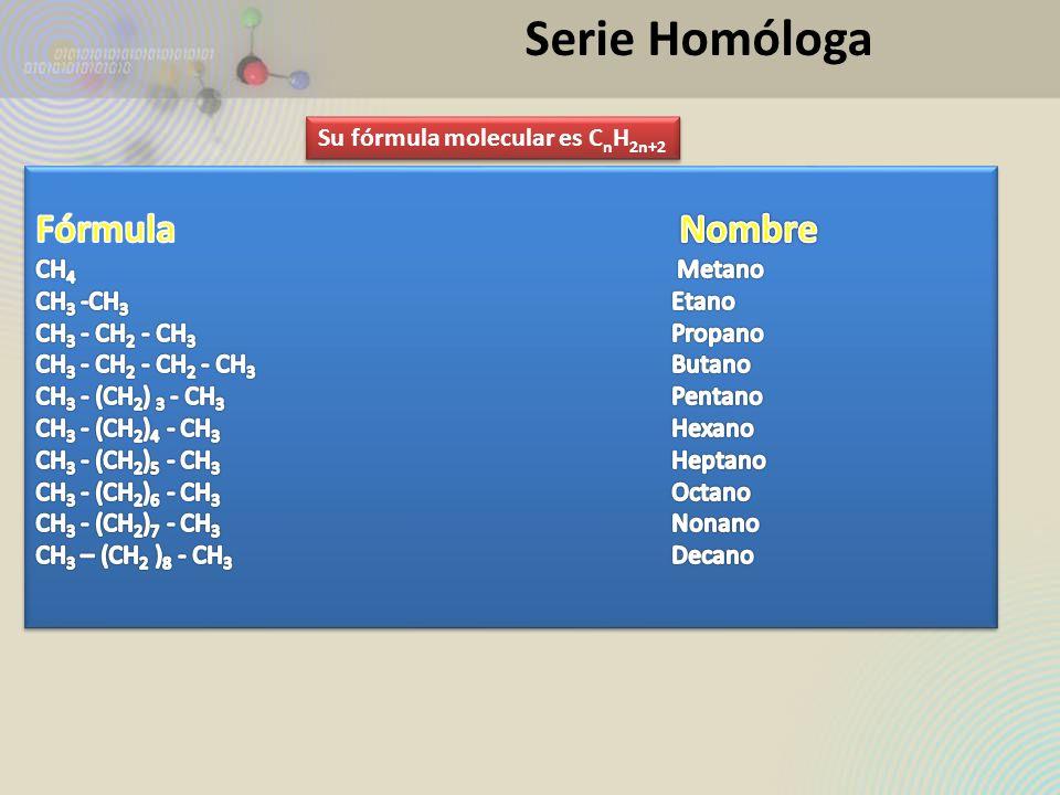 Serie Homóloga Su fórmula molecular es C n H 2n+2