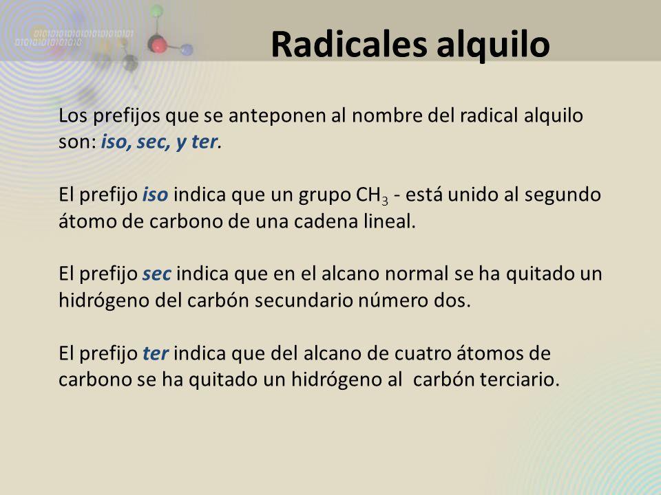 Los prefijos que se anteponen al nombre del radical alquilo son: iso, sec, y ter. El prefijo iso indica que un grupo CH 3 - está unido al segundo átom