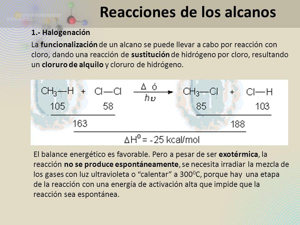 1.- Halogenación La funcionalización de un alcano se puede llevar a cabo por reacción con cloro, dando una reacción de sustitución de hidrógeno por cl