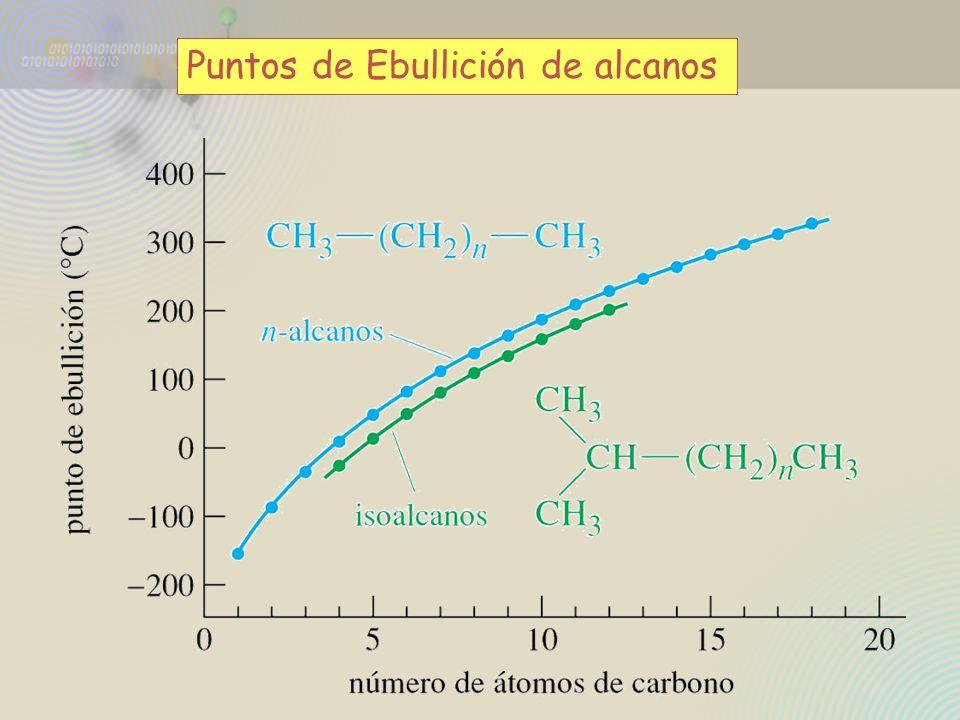 P. Ebullición de los alcanos isómeros de fórmula C 5 H 12