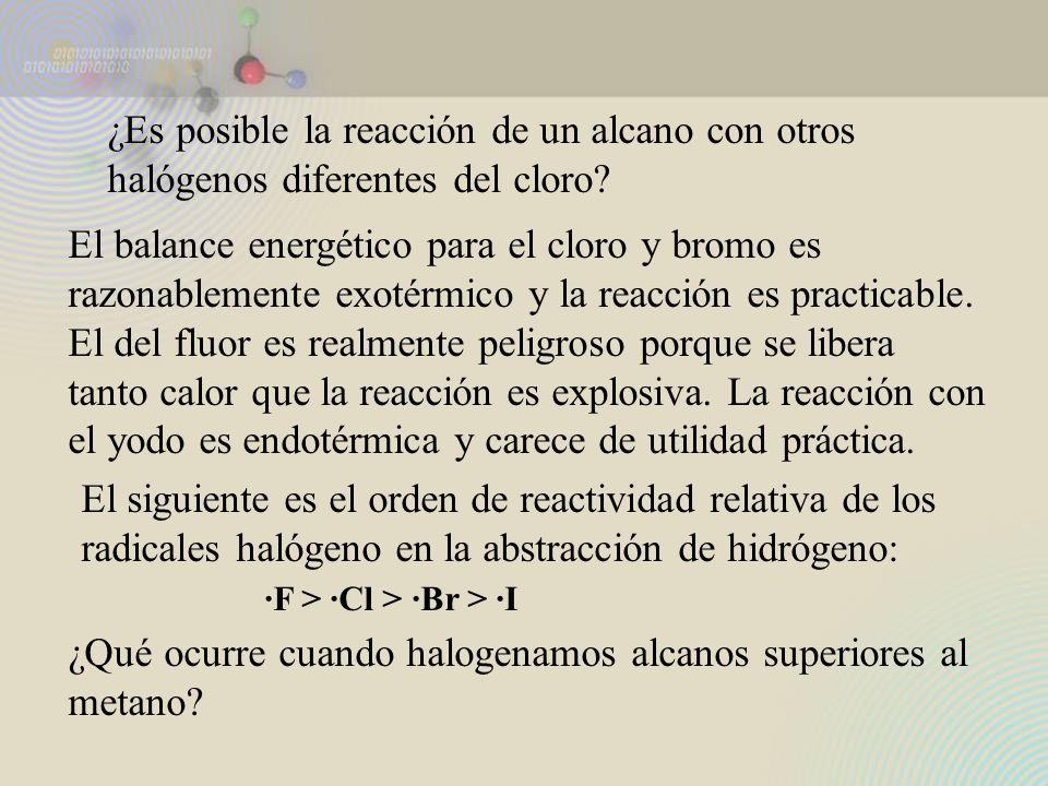 ¿Es posible la reacción de un alcano con otros halógenos diferentes del cloro? El balance energético para el cloro y bromo es razonablemente exotérmic