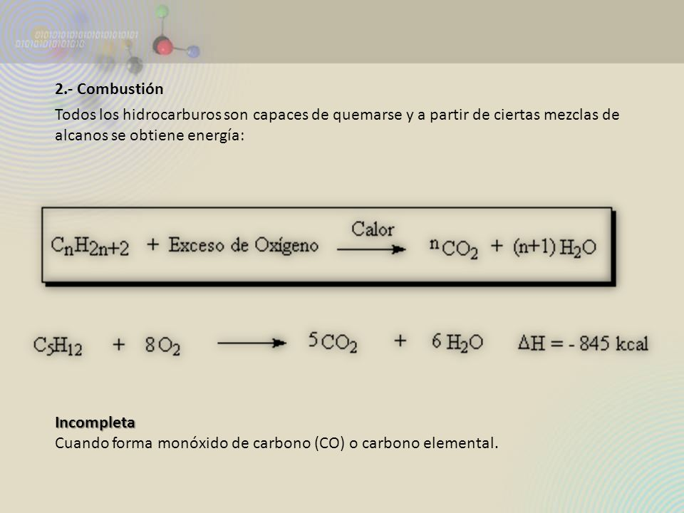 2.- Combustión Todos los hidrocarburos son capaces de quemarse y a partir de ciertas mezclas de alcanos se obtiene energía:Incompleta Cuando forma mon