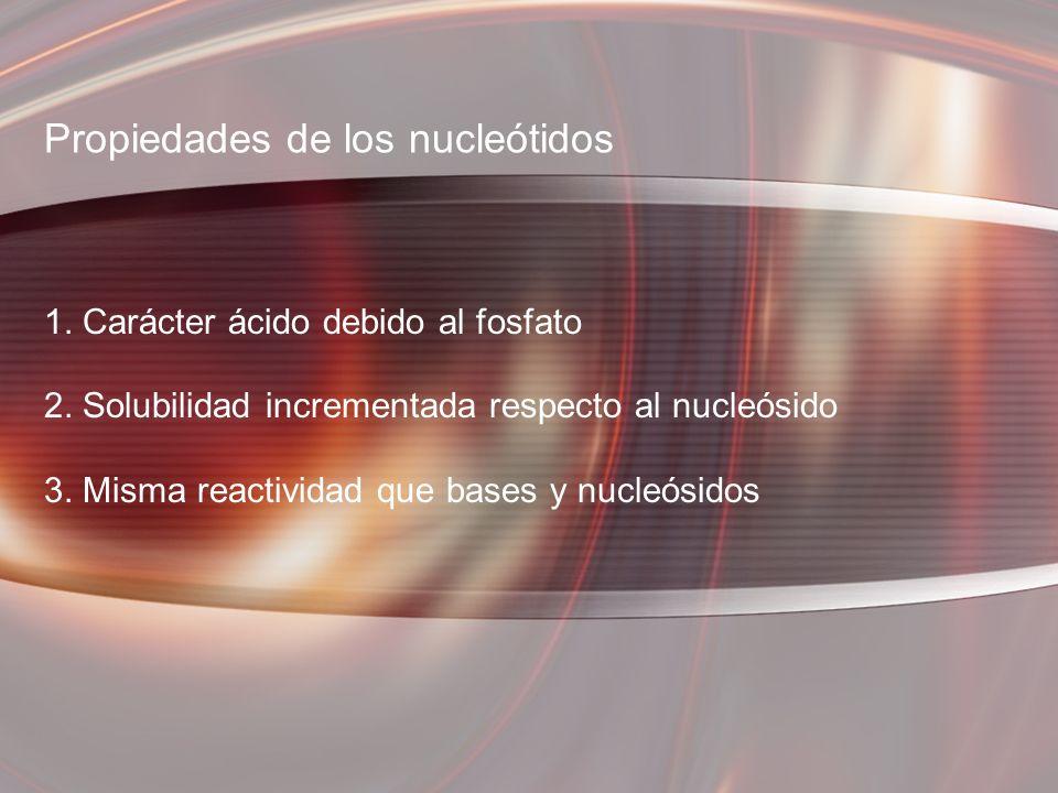 Propiedades de los nucleótidos 1. Carácter ácido debido al fosfato 2. Solubilidad incrementada respecto al nucleósido 3. Misma reactividad que bases y