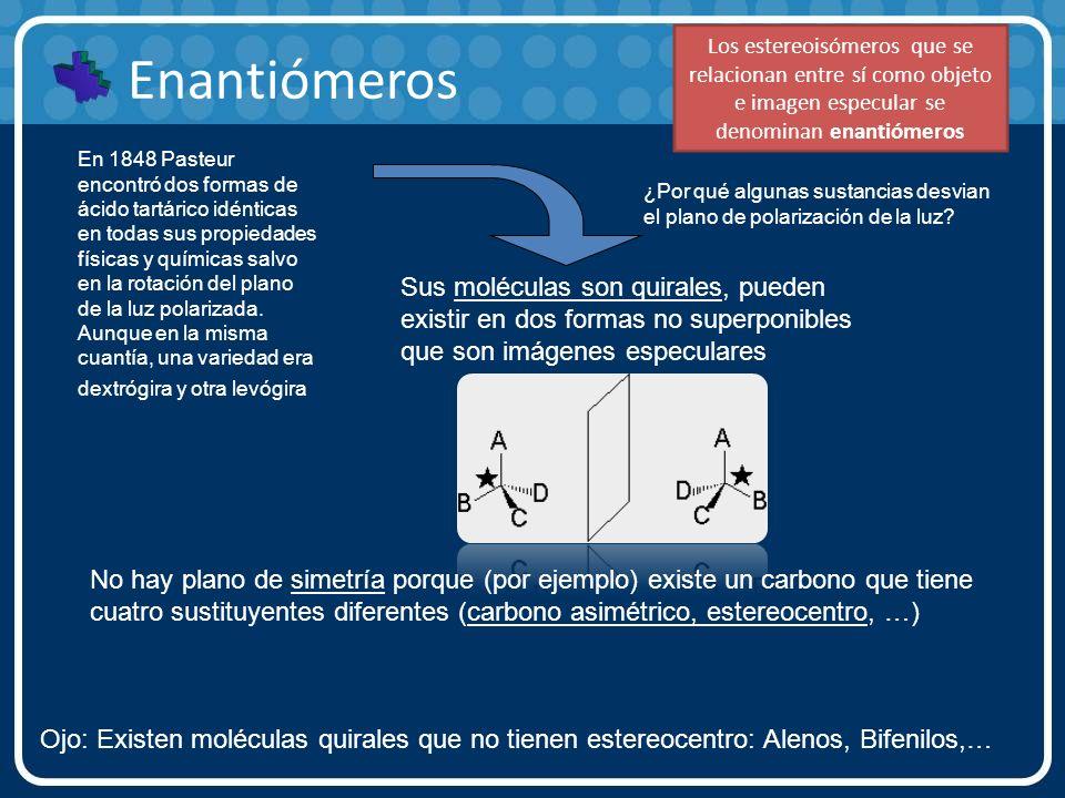 Enantiómeros Ojo: Existen moléculas quirales que no tienen estereocentro: Alenos, Bifenilos,… En 1848 Pasteur encontró dos formas de ácido tartárico i