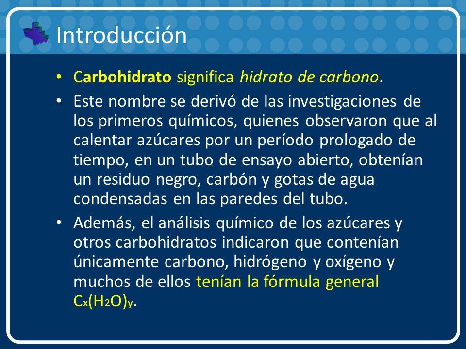 Introducción Carbohidrato significa hidrato de carbono. Este nombre se derivó de las investigaciones de los primeros químicos, quienes observaron que