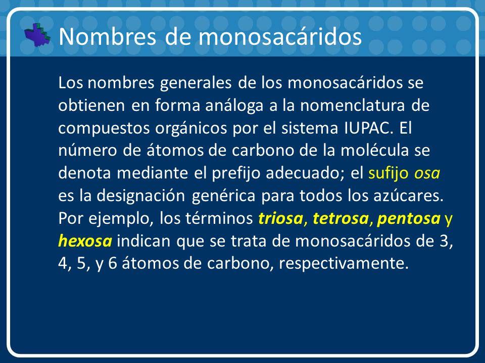 Nombres de monosacáridos Los nombres generales de los monosacáridos se obtienen en forma análoga a la nomenclatura de compuestos orgánicos por el sist