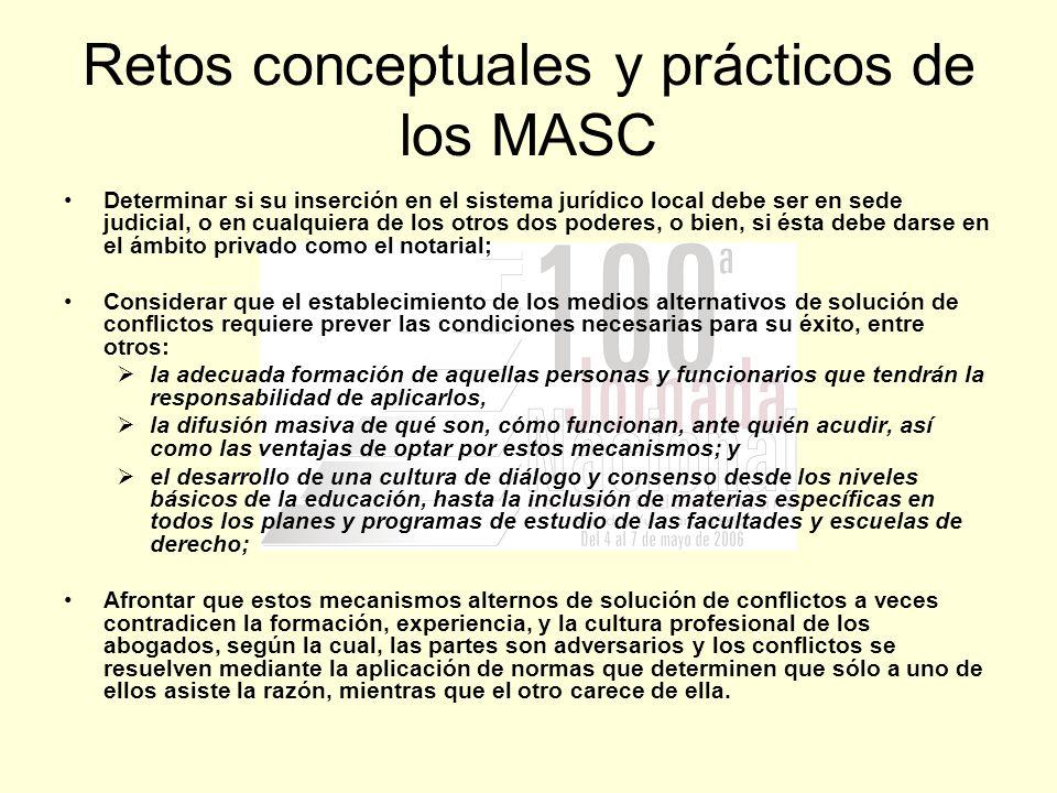 Retos conceptuales y prácticos de los MASC Determinar si su inserción en el sistema jurídico local debe ser en sede judicial, o en cualquiera de los o