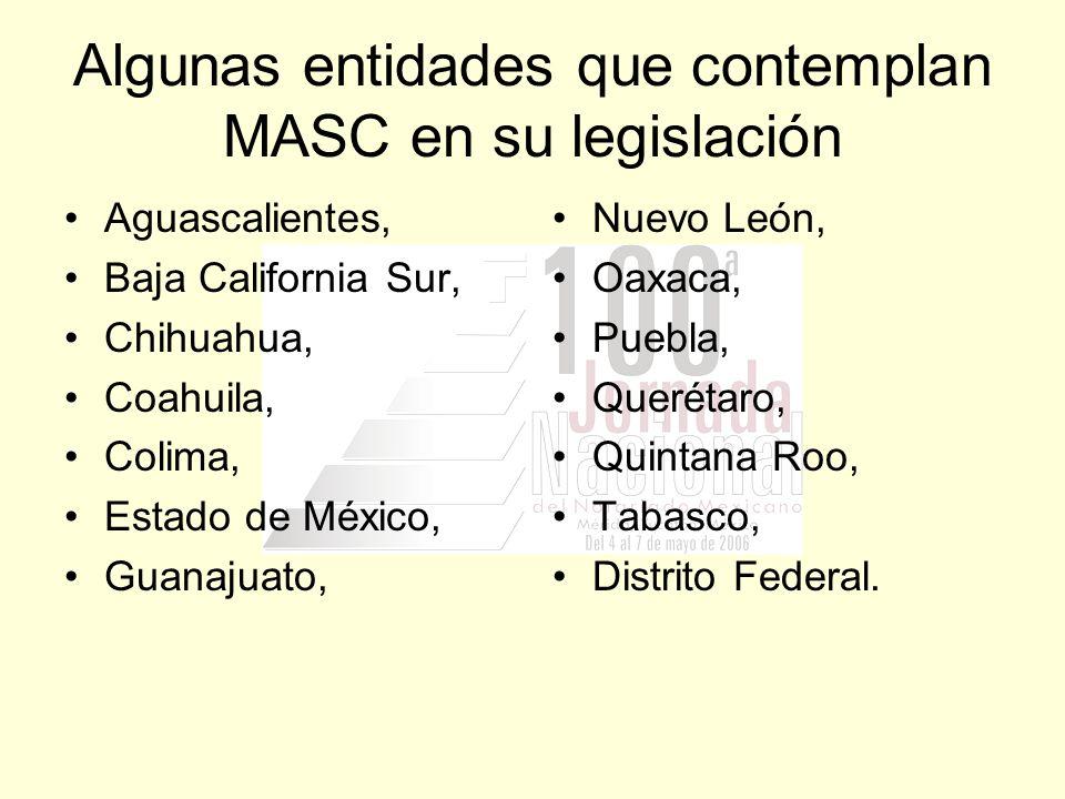 Algunas entidades que contemplan MASC en su legislación Aguascalientes, Baja California Sur, Chihuahua, Coahuila, Colima, Estado de México, Guanajuato