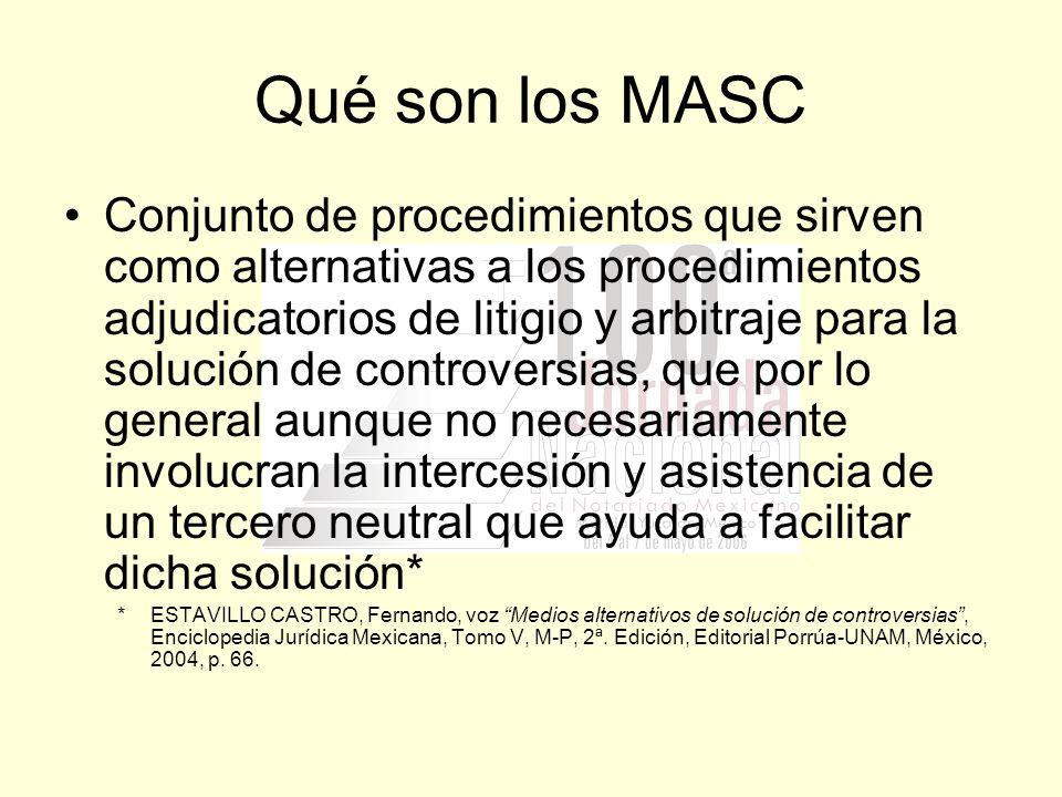 Qué son los MASC Conjunto de procedimientos que sirven como alternativas a los procedimientos adjudicatorios de litigio y arbitraje para la solución d