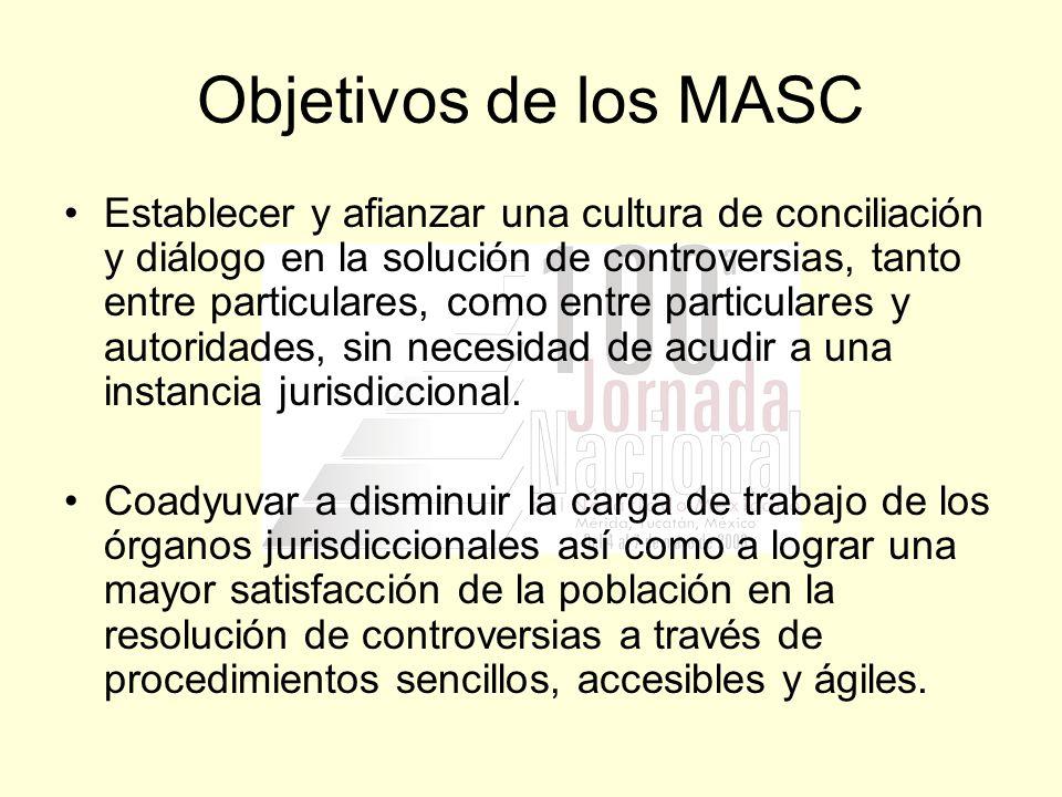Objetivos de los MASC Establecer y afianzar una cultura de conciliación y diálogo en la solución de controversias, tanto entre particulares, como entr