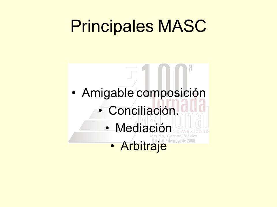 Principales MASC Amigable composición Conciliación. Mediación Arbitraje