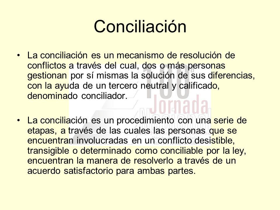 Conciliación La conciliación es un mecanismo de resolución de conflictos a través del cual, dos o más personas gestionan por sí mismas la solución de