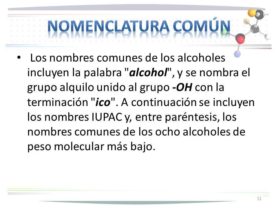 Los nombres comunes de los alcoholes incluyen la palabra